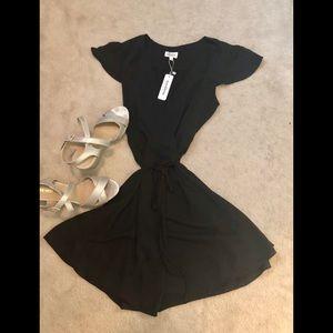 Sexy, black Glam wrap cocktail dress Sz L
